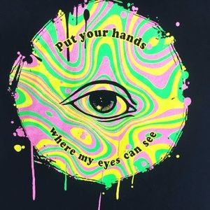 Cool Psychedelic Neon Paint Graphic Tee Unisex S